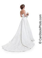 bonito, isolado, luxuoso, noiva, trem, fundo, casório, vestido branco