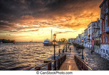 bonito, itália, (hdr), veneza, mediterrâneo, costa, pôr do...