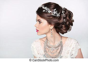 bonito, jóia, experiência., maquilagem, isolado, cabelo, elegante, estúdio, retro, styling., menina, modelo