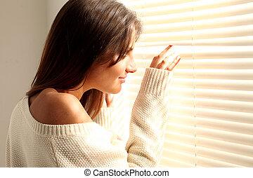 bonito, janela, mulher, jovem