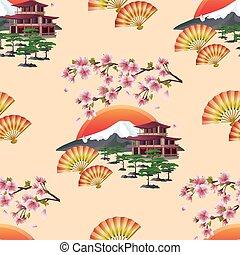 bonito, japoneses, seamless, padrão, com, sakura