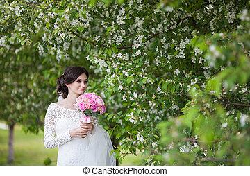 bonito, jardim, buquet, casório, jovem, noiva, florescer, mulher