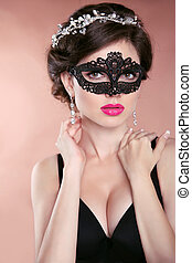 bonito, jewelry., mulher, hairstyle., carnaval, máscara desgastando, makeup., veneziano, mascarada, quentes, mask., modelo, menina, glamour