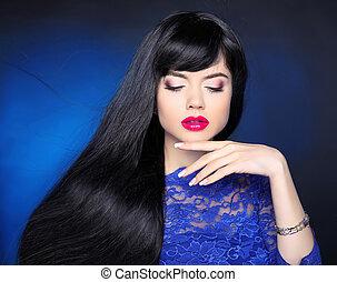 bonito, jewelry., mulher, morena, hairstyle., beleza, saudável, direito, hair., jovem, makeup., moda, portrait., longo, maquiagem, menina