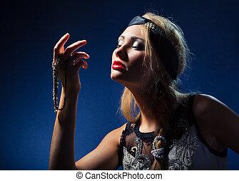 bonito, jewelry., retrato mulher, elegante