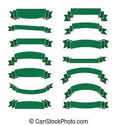 bonito, jogo, decoração, verde, em branco, bandeiras, Fita