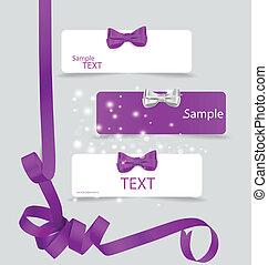 bonito, jogo, illustration., presente, notas, arcos, vetorial, ribbons., cartão