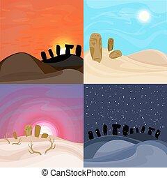 bonito, jogo, paisagens, deserto