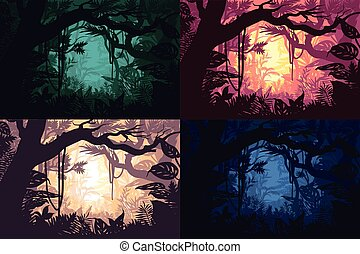 bonito, jogo, paisagens, selva