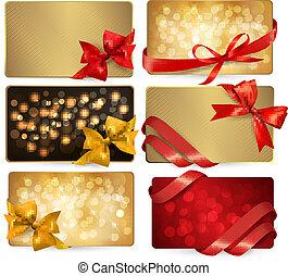 bonito, jogo, presente, arcos, vetorial, cartões, fitas, vermelho