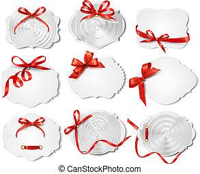 bonito, jogo, presente, arcos, vetorial, ribbons., cartões, vermelho