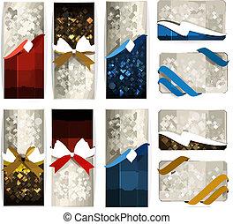 bonito, jogo, presente, cor, arcos, ribbons., cartões