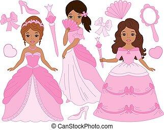 bonito, jogo, princesas, americano, vetorial, africano