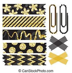 bonito, jogo, sequins, ouro, papel washi, fita, clips.