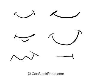 bonito, jogo, simples, símbolo, isolado, ilustração, vetorial, fundo, sorrizo, branca, ícone, caricatura, design.