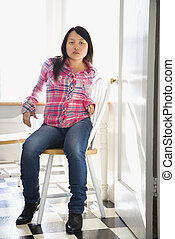 bonito, jovem, asiático, woman.