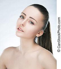 bonito, jovem, encantador, female., skincare., beleza