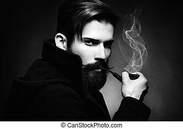 bonito, jovem, escuro, artisticos, retrato, man., homem