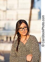 bonito, jovem, estudante, óculos