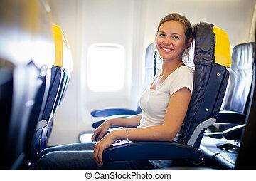 bonito, jovem, femininas, passageiro, bordo, de, um, aeronave