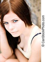 bonito, jovem, foco, model., retrato, eyes.