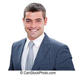 bonito, jovem, homem negócios