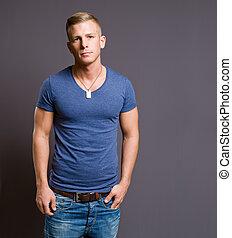 bonito, jovem, macho, model.