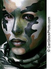 bonito, jovem, moda, mulher, com, militar, estilo, roupa, e, pintura cara, maquiagem