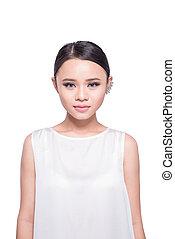 bonito, jovem, mulher asian, branco