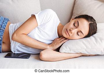 bonito, jovem, mulher asian, dormir