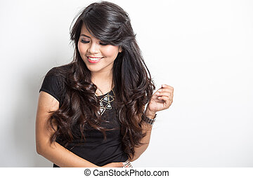 bonito, jovem, mulher asian, sorrindo