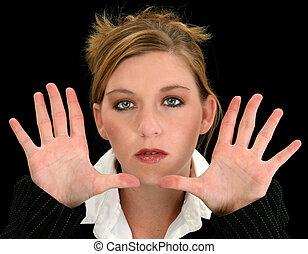 bonito, jovem, mulher negócio, com, mãos, direção, câmera