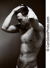 bonito, jovem, muscular, homem