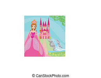 bonito, jovem, rainha, frente, dela, castelo