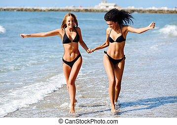bonito, jovem, swimwear, dois, praia tropical, corpos, mulheres