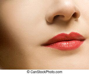 bonito, lábios, mulher, cara vermelha