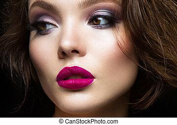 bonito, lábios rosas, modelo, jovem