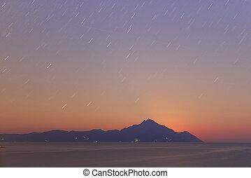 bonito, lago, amanhecer
