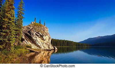 bonito, lago montanha, jasper, alvorada, paisagem