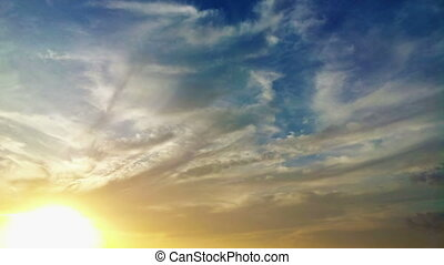 bonito, lapso, pôr do sol, tempo