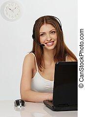 bonito, laptop, mulher, loura