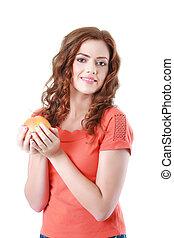 bonito, laranja, mulher, jovem, retrato