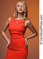 bonito, laranja, mulher, vestido