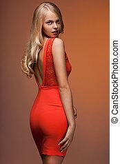 bonito, laranja, vestido, mulher