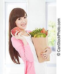 bonito, legumes, mulher, maçã, jovem