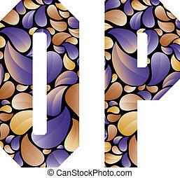 bonito, letras, alfabeto, este prego, floral, p.