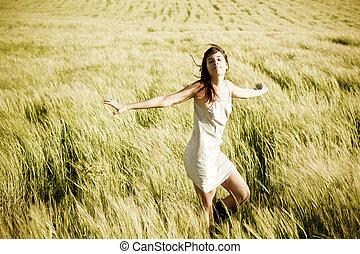 bonito, liberdade, jovem, field., menina, sentimento