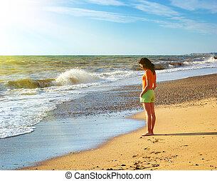bonito, ligado, praia.