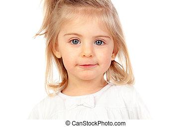 bonito, loiro, menina bebê, com, olhos azuis