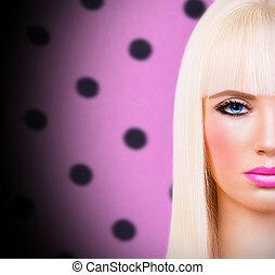bonito, loiro, menina, com, lábios rosas